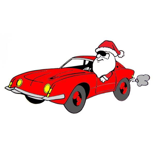 Disegno di Babbo Natale in Auto a colori