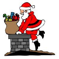 Disegno di Babbo Natale nel Camino a colori
