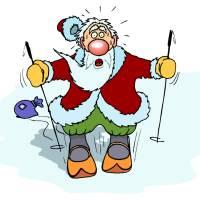 Disegno di Babbo Natale che Scia a colori