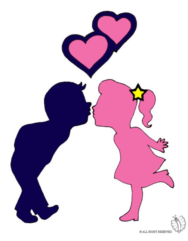 Disegno di Bacio e Cuoricini a colori per bambini
