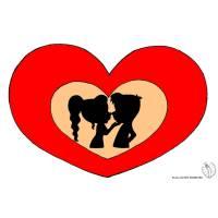 Disegno di Bacio San Valentino a colori