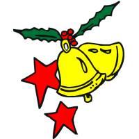 disegno di Campane e Stelle di Natale a colori