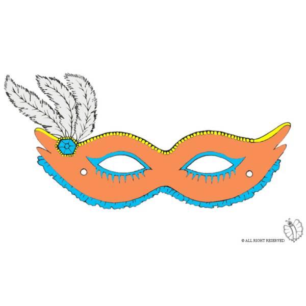 Disegno di Maschera Carnevale con Piume a colori