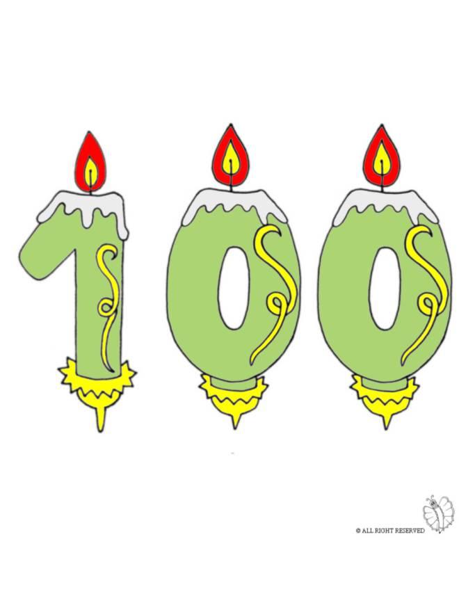 disegno di Cento Anni Candeline Compleanno a colori