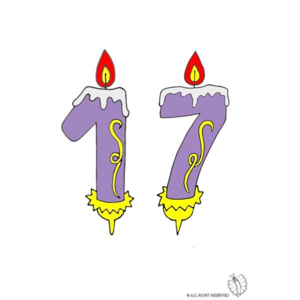 Disegno di Diciassette Anni Candeline Compleanno a colori