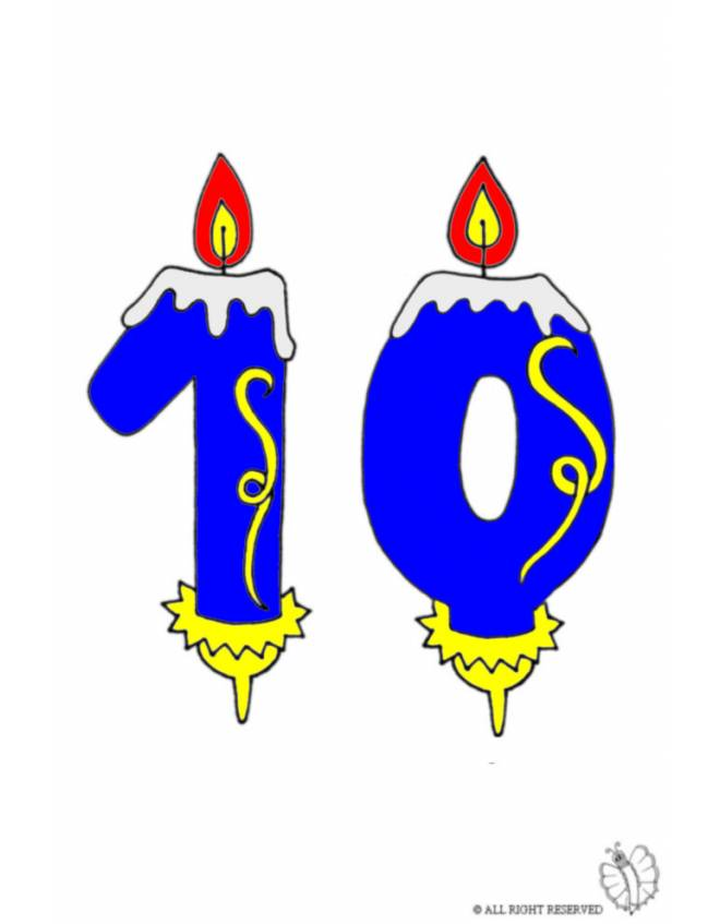 disegno di Dieci Anni Candeline Compleanno a colori