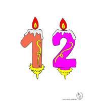 Disegno di Dodici Anni Candeline Compleanno a colori