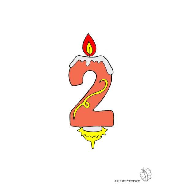 Disegno di due anni candeline compleanno a colori per