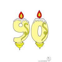 disegno di Novanta Anni Candeline Compleanno a colori