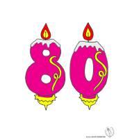 disegno di Ottanta Anni Candeline Compleanno a colori