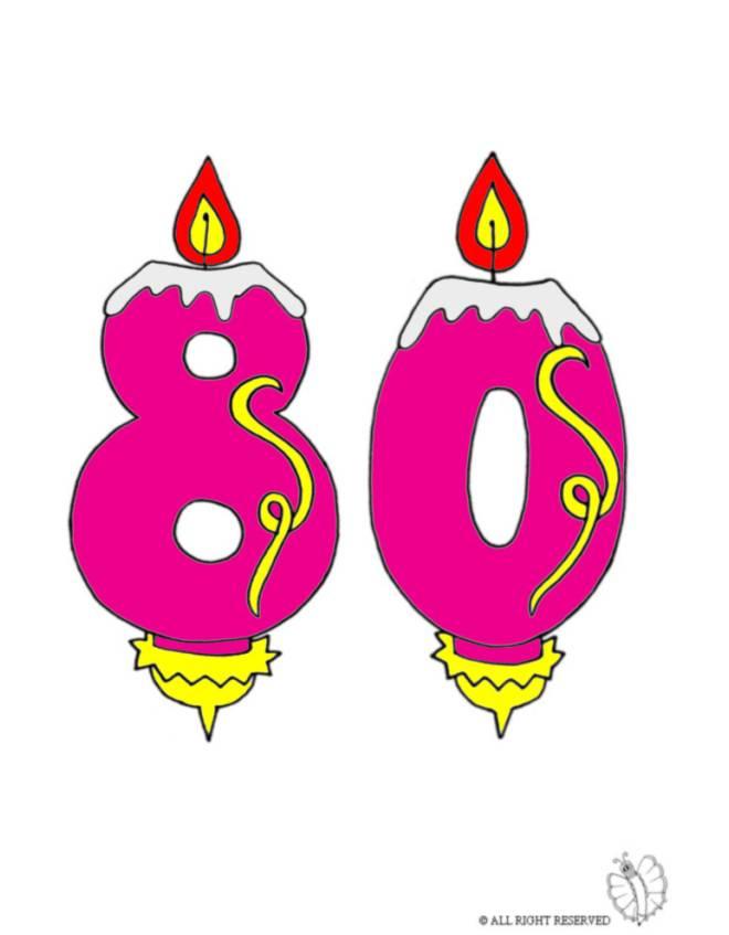 Disegno di ottanta anni candeline compleanno a colori per