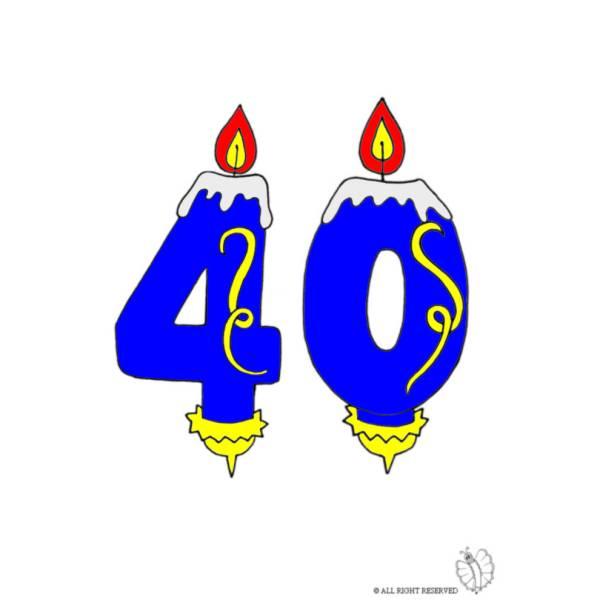 Disegno di Quaranta Anni Candeline Compleanno a colori