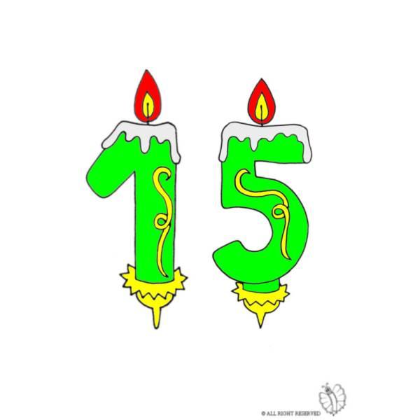 Disegno di Quindici Anni Candeline Compleanno a colori