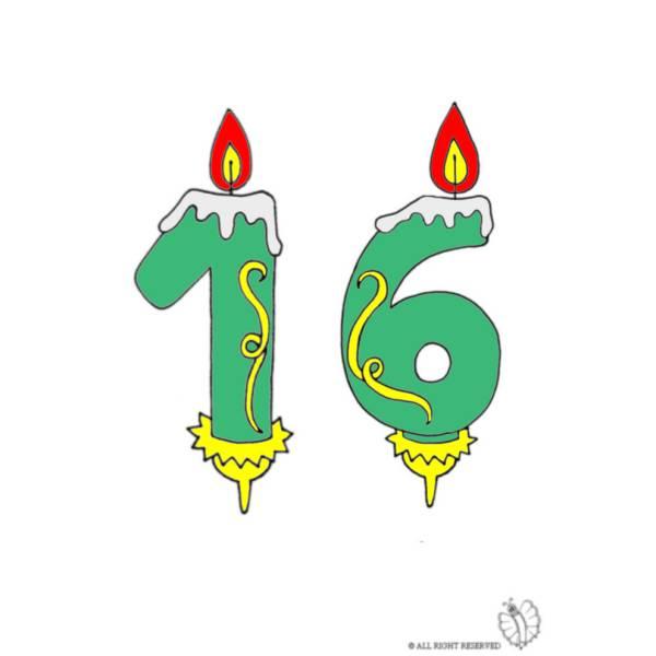 Disegno di Sedici Anni Candeline Compleanno a colori