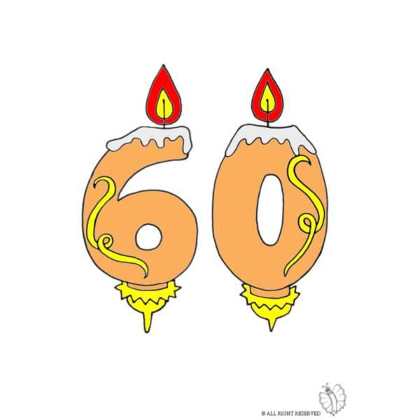 Disegno di Sessanta Anni Candeline Compleanno a colori