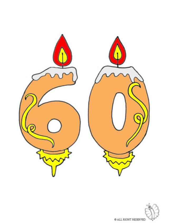 Disegno di sessanta anni candeline compleanno a colori per