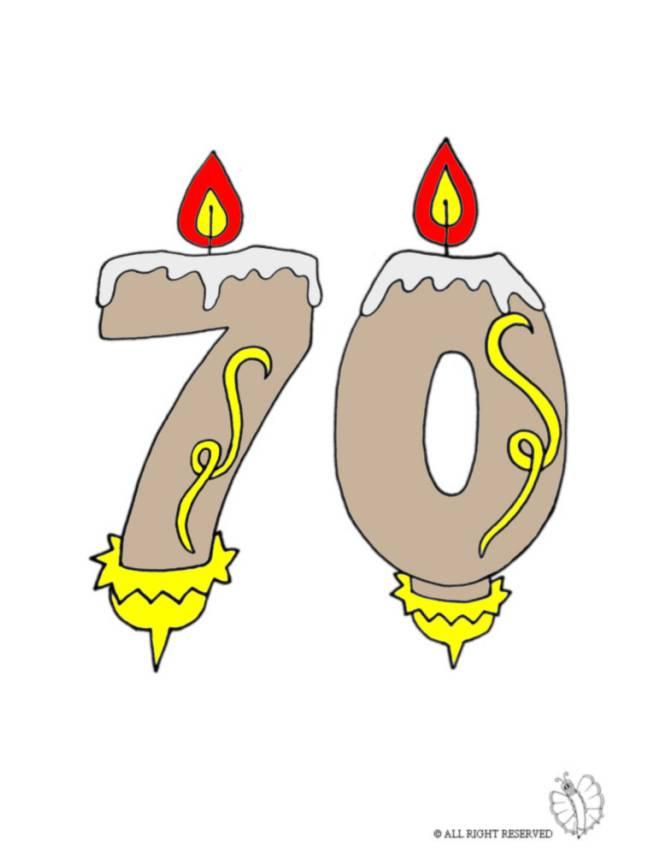 Disegno di settanta anni candeline compleanno a colori per