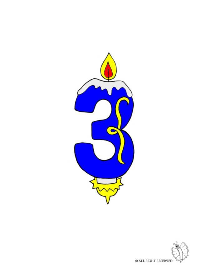 disegno di Tre Anni Candeline Compleanno a colori