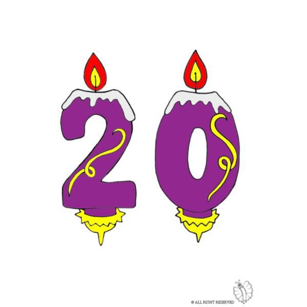 Disegno di Venti Anni Candeline Compleanno a colori