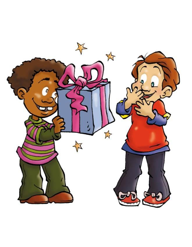 Disegno di regalo tra amici a colori per bambini for Regali per amici