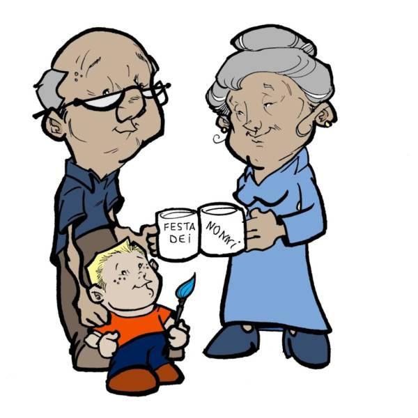Disegno di Festa dei Nonni a colori