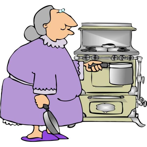 Disegno di nonna in cucina a colori per bambini for Disegno cucina