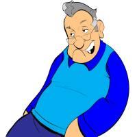 Disegno di Nonno con Occhiali a colori