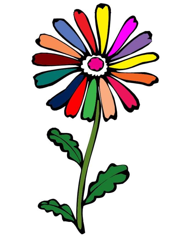 Stampa disegno di fiore margherita a colori - Immagine del mouse a colori ...