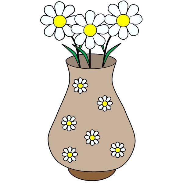 Disegno di vaso di margherite a colori per bambini for Vaso di fiori disegno