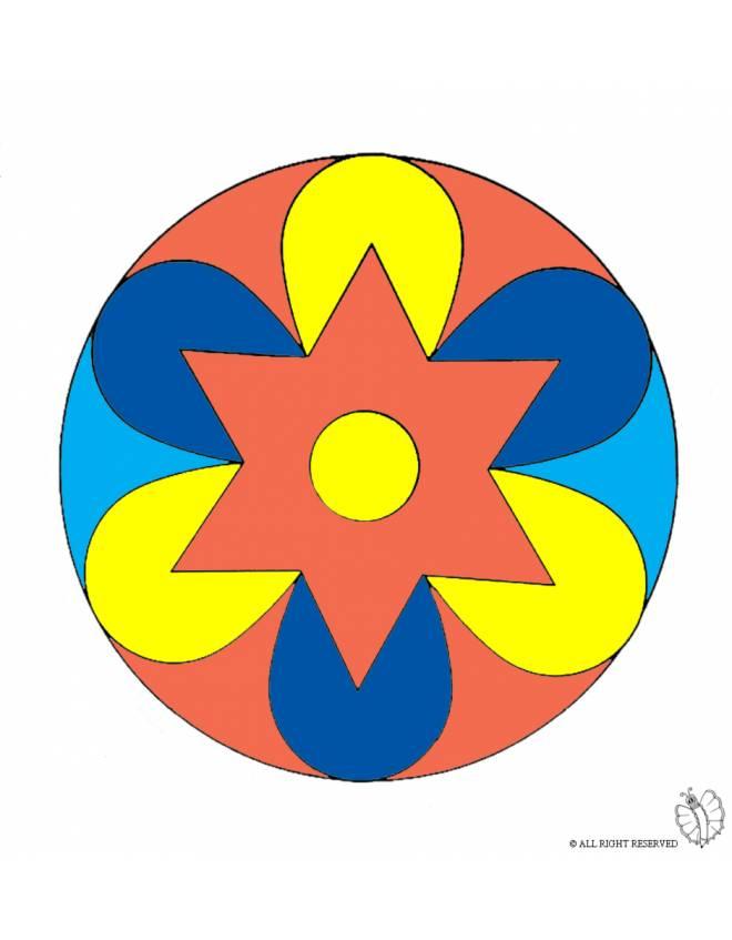 Disegno di mandala 2 a colori per bambini for Immagini di pesci da stampare