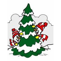 Disegno di Albero di Natale Innevato a colori