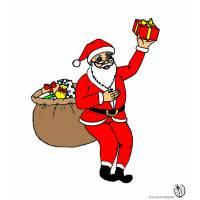 Disegno di Babbo Natale che Consegna Regali a colori