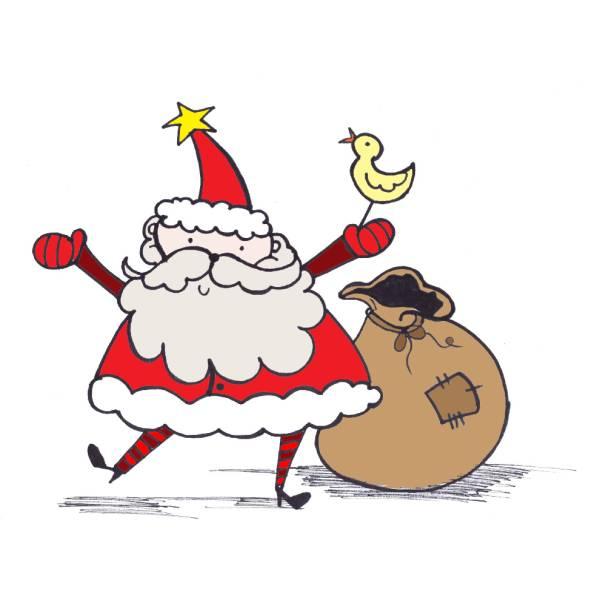 Disegno di Babbo Natale con Sacco a colori