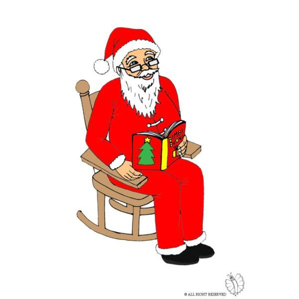 Disegno di babbo natale sulla sedia a colori per bambini - Sedia a dondolo disegno ...