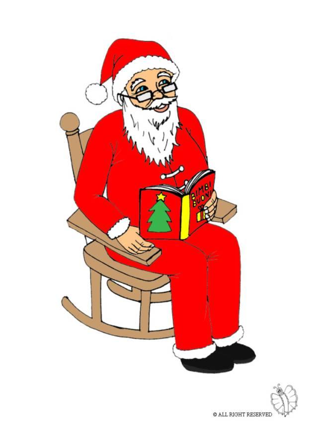 Stampa Disegno Di Babbo Natale Sulla Sedia A Colori