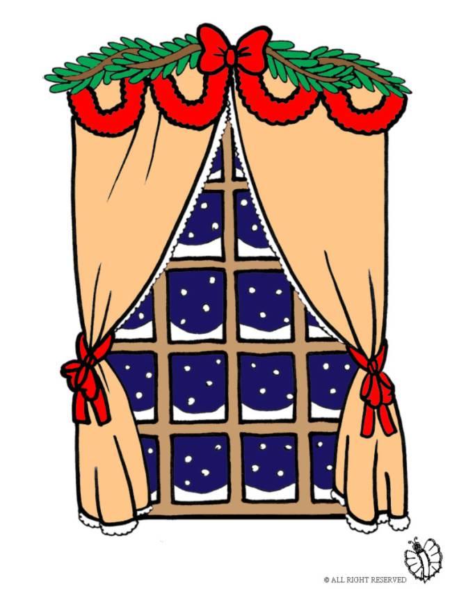 disegno di Finestra con Addobbi di Natale a colori