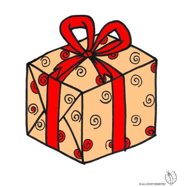Disegno di pacco regalo con fiocco a colori per bambini for In regalo gratis