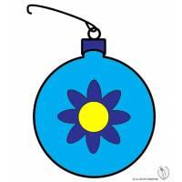 Disegno di Pallina di Natale con Fiore a colori