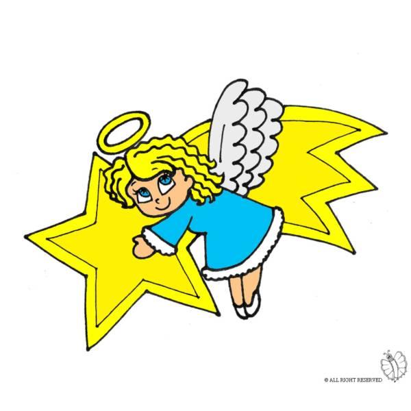 Disegno di stella cometa e angioletto a colori per bambini for Angeli per bambini da colorare