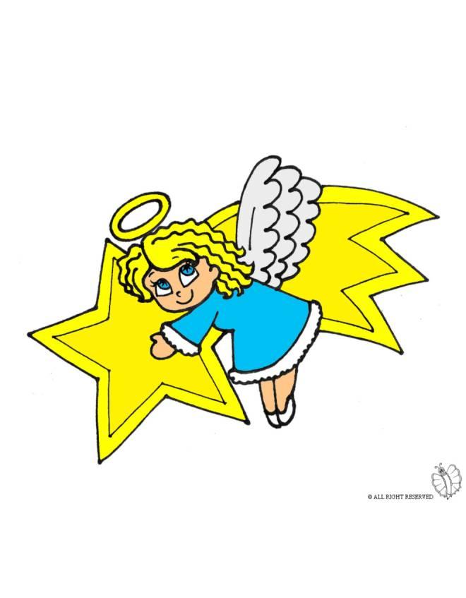 disegno di Stella Cometa e Angioletto a colori