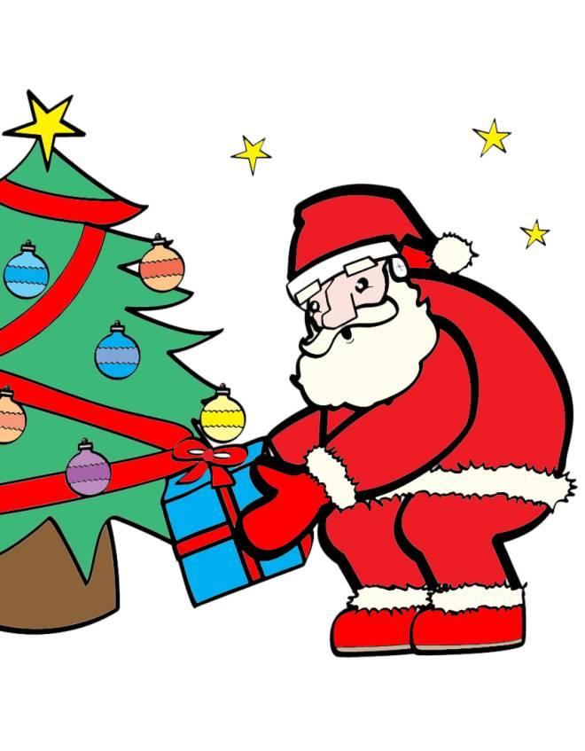 disegno di Babbo Natale e i Regali a colori
