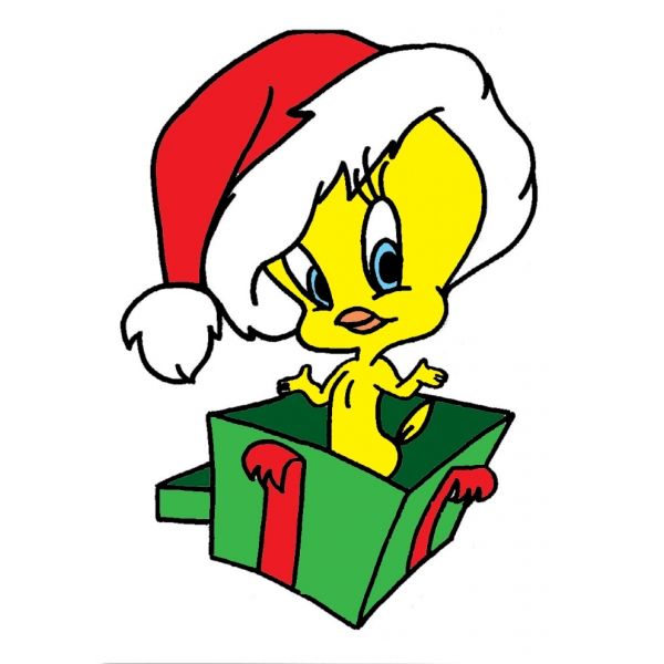 Disegno di Titti Regalo di Natale a colori