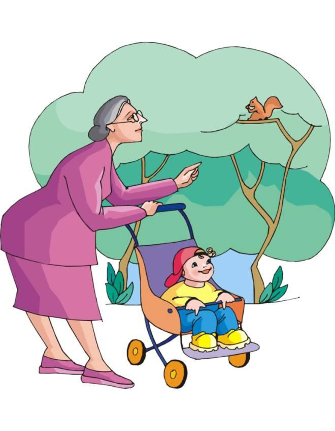 disegno di Nonna e Nipotino al Parco a colori