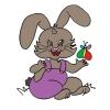 disegno di Coniglietta con Farfalla a colori