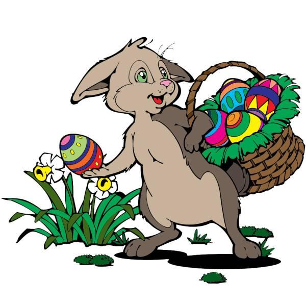 Disegno di Coniglio con Cesto di Pasqua a colori