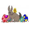 Disegno di Coniglio e Uccellino di Pasqua a colori