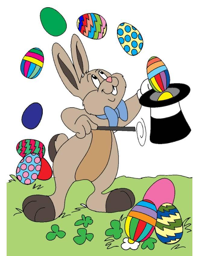 Disegno di coniglio mago di pasqua a colori per bambini - Immagini a colori di natale gratis ...