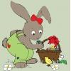 Disegno di Coniglio di Pasqua con Pulcino a colori
