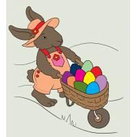Disegno di Coniglio con Uuova di Pasqua a colori