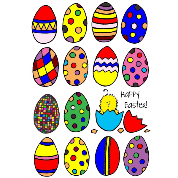 Disegno di Uova Di Pasqua Dipinte a colori